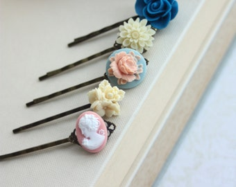 Blue Flowers, Peach Cameo Hair Pins. Shades of Cobalt Blue, and Ivory Mum Hair Bobby Pins, Floral Flower Hair Accessories. Set of Five (5)