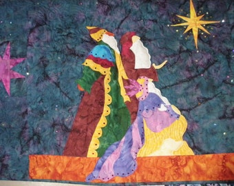 Quilted Wall Hanging Art Star Gazers II Christmas Banner Handmade Quiltsy Idaho