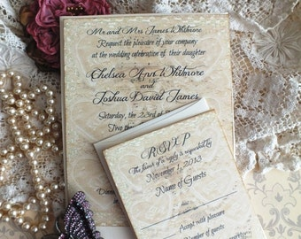 Vintage Lace & Sheet Music Wedding Invitation Suite Handmade by avintageobsession on etsy