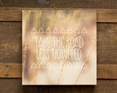 Take the Road Less Traveled 10x10 Canvas Gallery Wrap, Rustic Whimsical Boho Decor, Dorm Decor, Soft Pastel Dreamy Photography