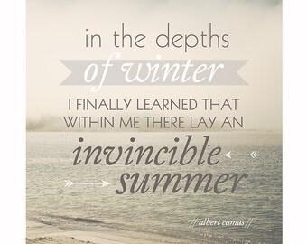 Invincible Summer Quote Print, Beach Ocean Photography, 8x10, Typography Print, Albert Camus Quote, Modern Minimalist Decor, Literary