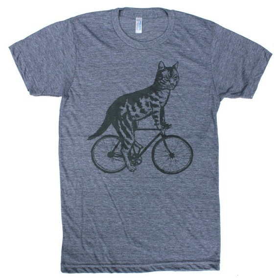 Cat on a Bicycle -Mens T Shirt, Unisex Tee, Tri Blend Tee, Handmade graphic tee, sizes xs-xxl