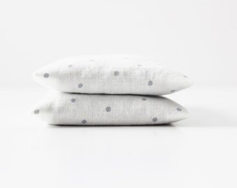 White Minimalist Lavender Sachets, Gray Polka Dot, Organic Home Fragrance, Modern Decor