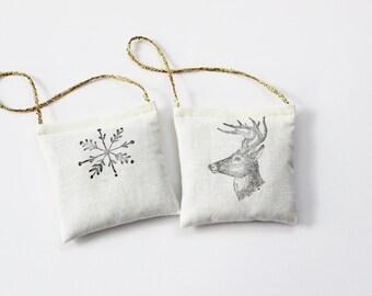 Handmade Fabric Ornaments - Natural Woodland Christmas Decor - White Snowflake & Deer Tree Decorations