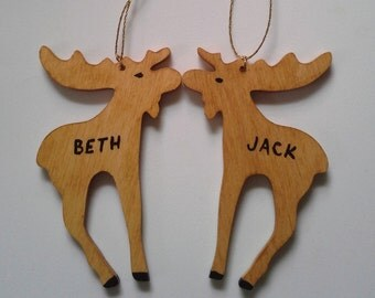 Moose weddingfavor  his/hers personalized set of two