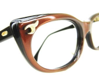 Vintage 50s Fiery Bronze Cat eye Glasses Eyeglasses Sunglasses Frame Saphira