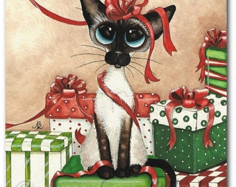 Siamese Cat Holiday Gifts Christmas Red Ribbon - Art Prints by Bihrle ck324