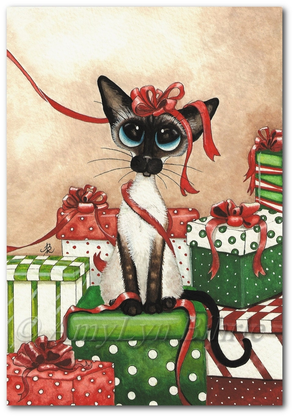 Siamese cat holiday gifts christmas red ribbon art prints by