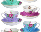 Some tea please  - Tea Cups A4 Digital Collage Sheet - For unlimited number of prints