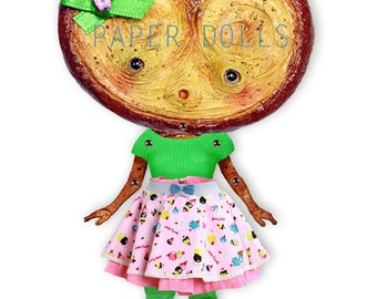 Eldrida - articulated Paper Doll 9.1 inches - cookie pastels puppet green pink  wonderland tea party ooak cookie doll