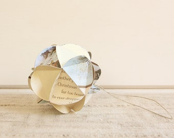 READY TO SHIP Large Geometric Upcycled Paper Ornament-Brown/Cream With Snow Scene
