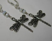 Sterling Silver Dragonfly Earrings Opalite Glass Wire Wrapped Insect Charms