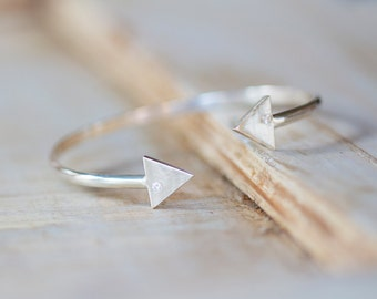 Silver Arrow Cuff Bracelet Bangle - Modern Tribal by Prairieoats