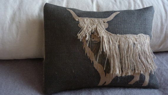 hand made and appliqued shaggy highland cow cushion