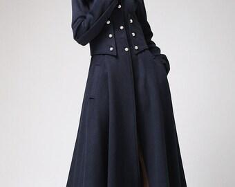 Military Coat, Womens coats, Cashmere Coat, Long coat, Dress Coat, Handmade coat, Wool Coat, Blue Coat, Wool Jacket, Long Wool Coat  (701)