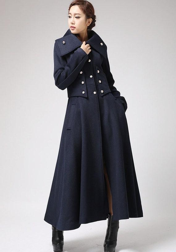 Military coat long coat wool coat navy coat warm coat