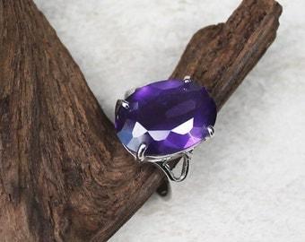 Vintage Statement Cocktail Ring, Large Purple Dinner Ring, Size 8.5, Half Off Sale