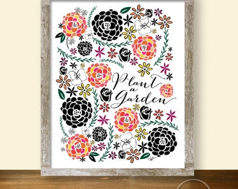 Plant a Garden Flower Pattern Art - Instant Download