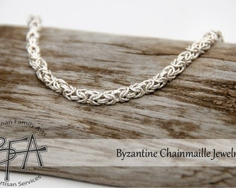Sterling SILVER Byzantine Feminine Chainmaille Bracelet - Modern Classical Jewelry - Persian Japanese European 925