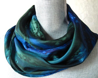 Silk Scarf Hand Dyed in Forest Green and Midnight Blue