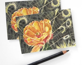 orange flower cards, note card set, small blank cards and envelopes, botanical stationery