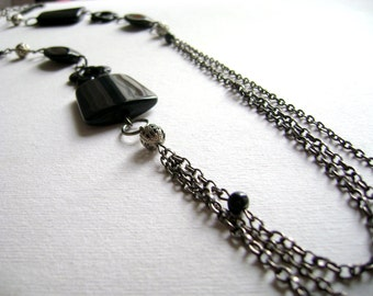 Long layered necklace Multiple chain black gunmetal chain and acrylic urban necklace