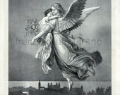 antique religious victorian lithograph going to heaven angel and child illustration DIGITAL DOWNLOAD