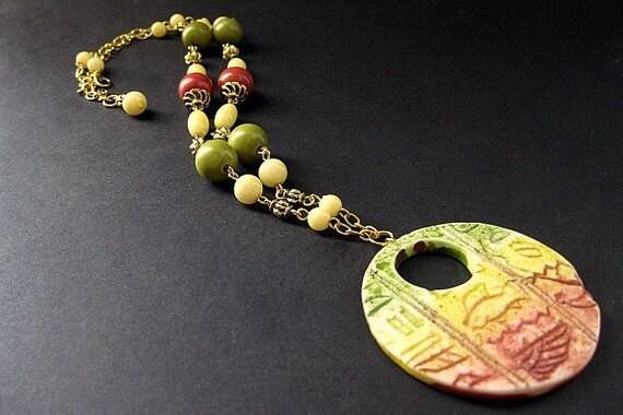 Sunset Necklace. Egyptian Necklace. Hieroglyph Necklace. Red, Green, and Yellow Necklace. Gold Necklace. Handmade Necklace. Handmade Jewelry