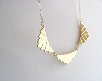 Art deco triple chevron pendant bib necklace gold plate chain, vintage geometric pendant, upcycled geometric jewelry