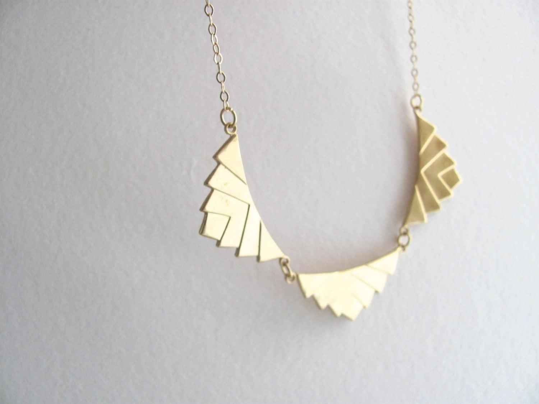 deco chevron pendant bib necklace gold plate chain