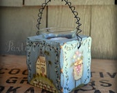 Folk Art Votive Candle Holder Hand Painted Wooden Candle Holder Primitive Terrye French Designs Rustic Home Decor Saltbox Spring Designs