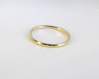 Solid 14k Gold Band. Hammered Round 1.5 mm Stacking Ring. Unisex Smooth Wedding Band