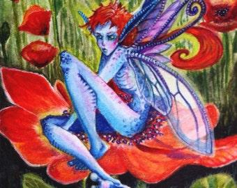 OOAK Iridescent Poppy Sprite Original ACEO watercolor
