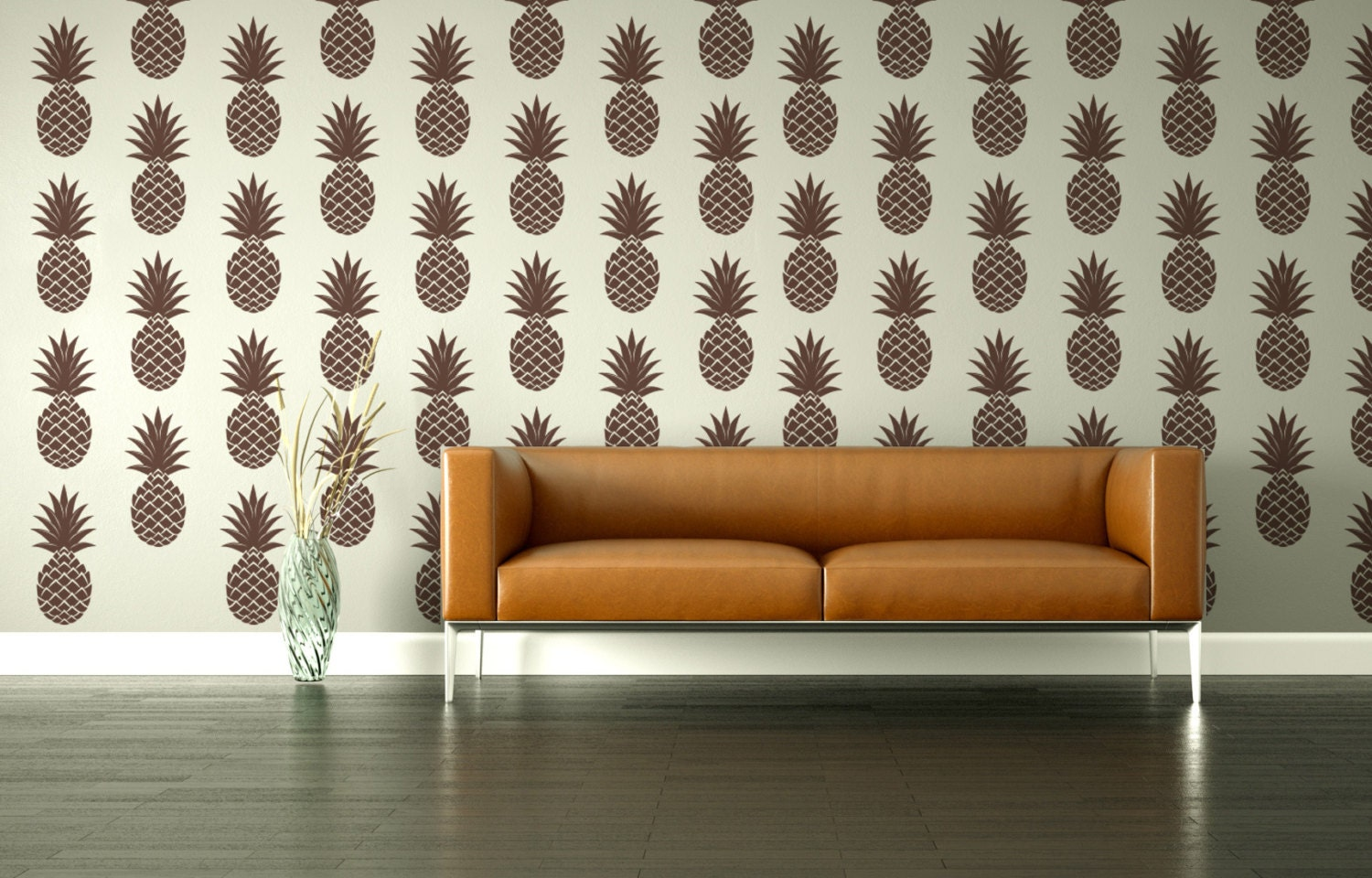 Retro wall decal pineapple geometric fruit by wallstargraphics - Retro wallpaper for walls ...