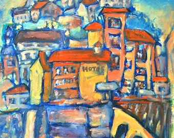 Ainsa - Art Print, Colorful Medieval Town, Whimsical Art, Camino de Santiago, Spanish City, Landscape Painting,  Blue Art, Surreal Buildings