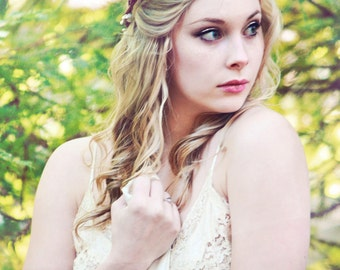 woodland crown, rustic wedding headpiece, berries flower crown, bridal hair accessory