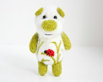 White and green ladybug pocket felted bear