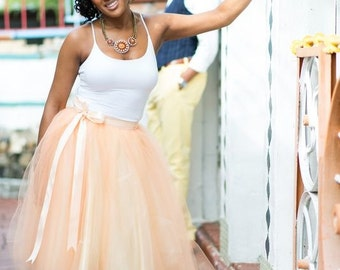 Women's tulle skirt in peach and cream. Peach over ivory lined tea length tutu skirt.