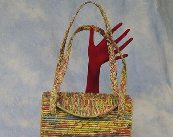 Vintage 60s 70s Handmade Rolled Recycled Paper Handbag Shoulder Bag Box Purse