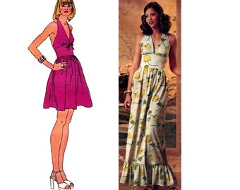 70s Boho Halter Midriff Dress Pattern Simplicity 5672 Fit and Flare Maxi Vintage Sewing pattern Size 8 Bust 31 1/2 inches
