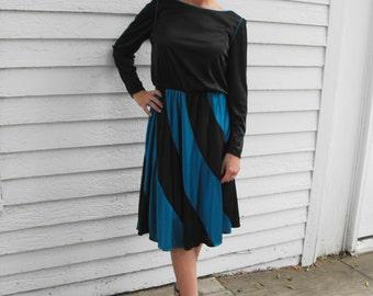 Blue Striped Dress Vintage Retro Casual 70s S M
