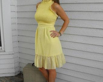 Yellow Mini Dress Vintage 70s Smocked Swiss Dot Halter Sun Summer Hippie XS