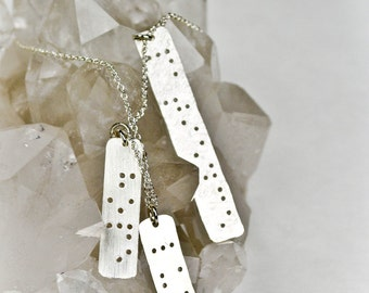 NAME CHARMS : Sterling Silver Family Tree Necklace in Braille Personalized Jewelry