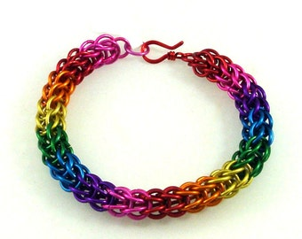 Chainmaille Jewellery, Rainbow Full Persian Chainmail Bracelet