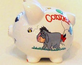Personalized Piggy Bank With All Eeyore, Balloons, and Bees