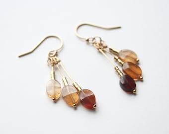 Orange Brown Earrings, Fall Jewelry, Dangle Earrings