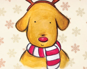 Red nosed rein-dog - christmas card