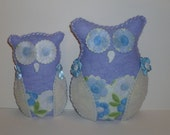 Blue and white owls plush owl decor periwinkle