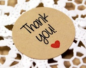 THANK YOU sticker with red heart - thank you labels in feminine print - multiple sizes - wedding favors, envelope seals, gift wrapping