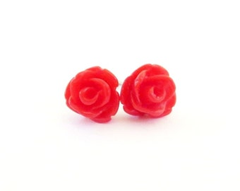 Tiny Red Rose Stud Earrings- Surgical Steel or Titanium Post Earrings- 7mmBlack Friday Sale 20% Off